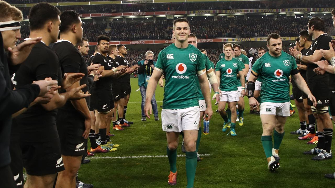 Johnny Sexton of Ireland leaves the field after beating the All Blacks in 2018.