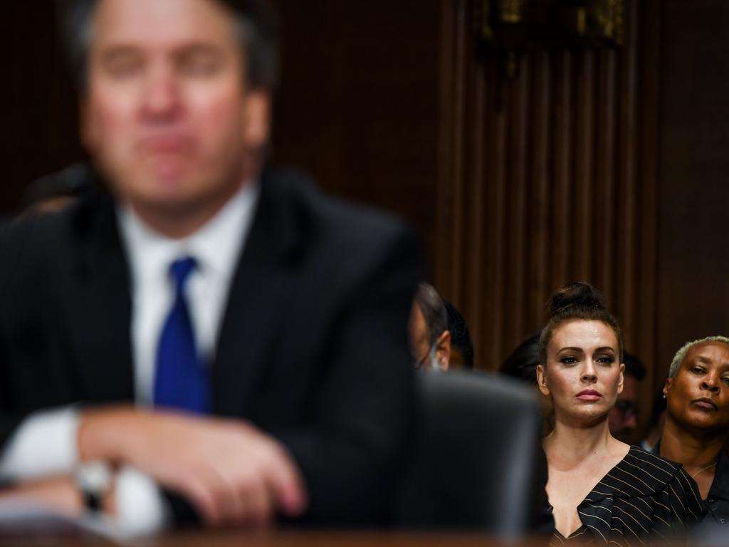 Actor Alyssa Milano (R) looks on as Judge Brett M. Kavanaugh testifies in front of the Senate Judiciary committee. Picture: AFP