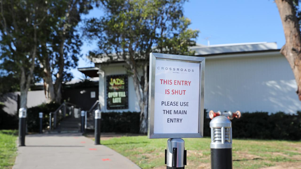 The Crossroads Hotel in Casula was at the centre of an outbreak last year. Picture: Richard Dobson