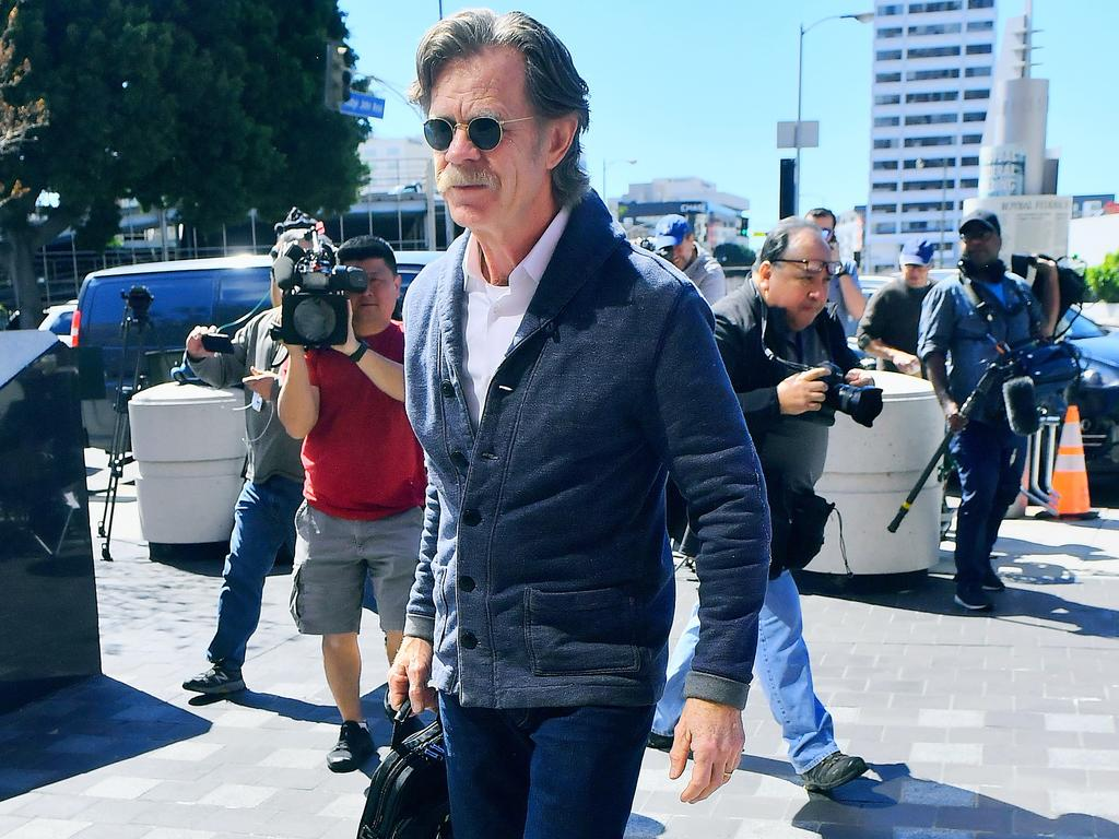 William H Macy is seen arriving at the federal detention centre in Los Angeles where his wife Felicity Huffman was being questioned over an alleged college cheating scam. Picture: Marksman / MEGA