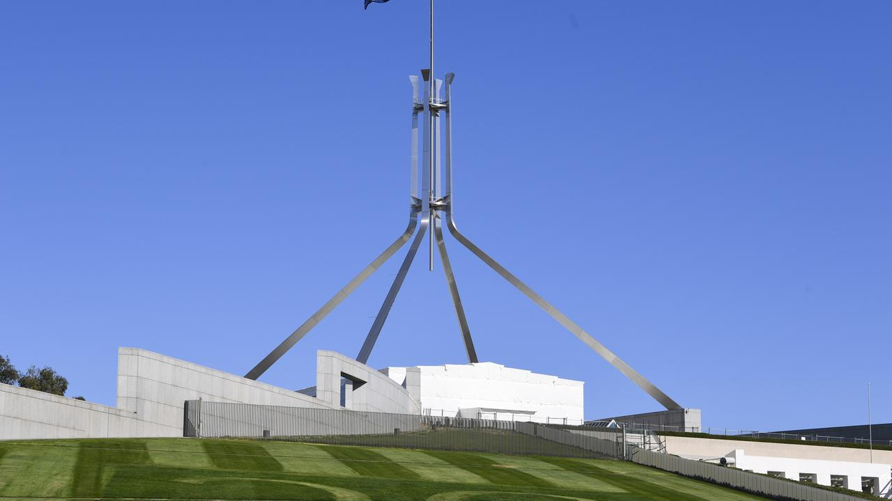 The fence on the lawn at Parliament House today.