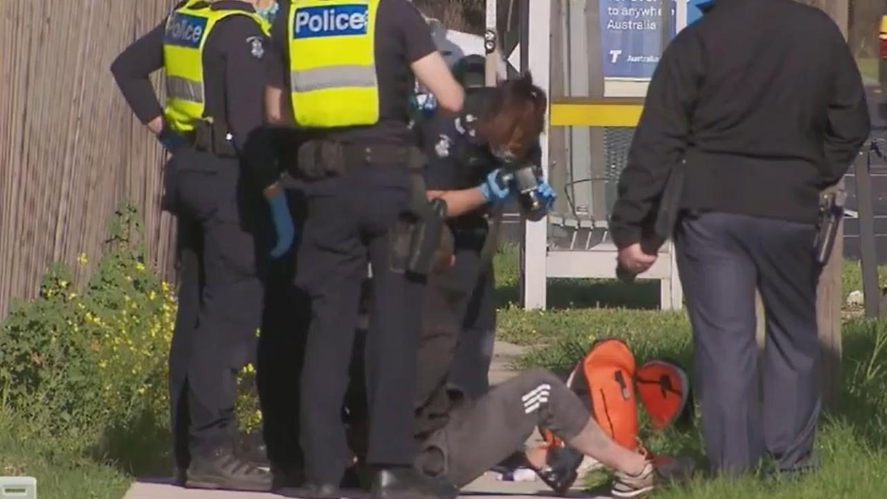 Police arrest a man in Bayswater North in relation to an alleged fatal stabbing. Picture: 9 News