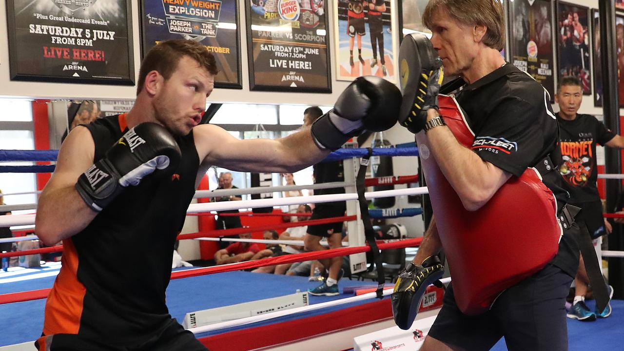 Jeff Horn training with Glenn Rushton ahead of Sunday's fight against Terence Crawford.