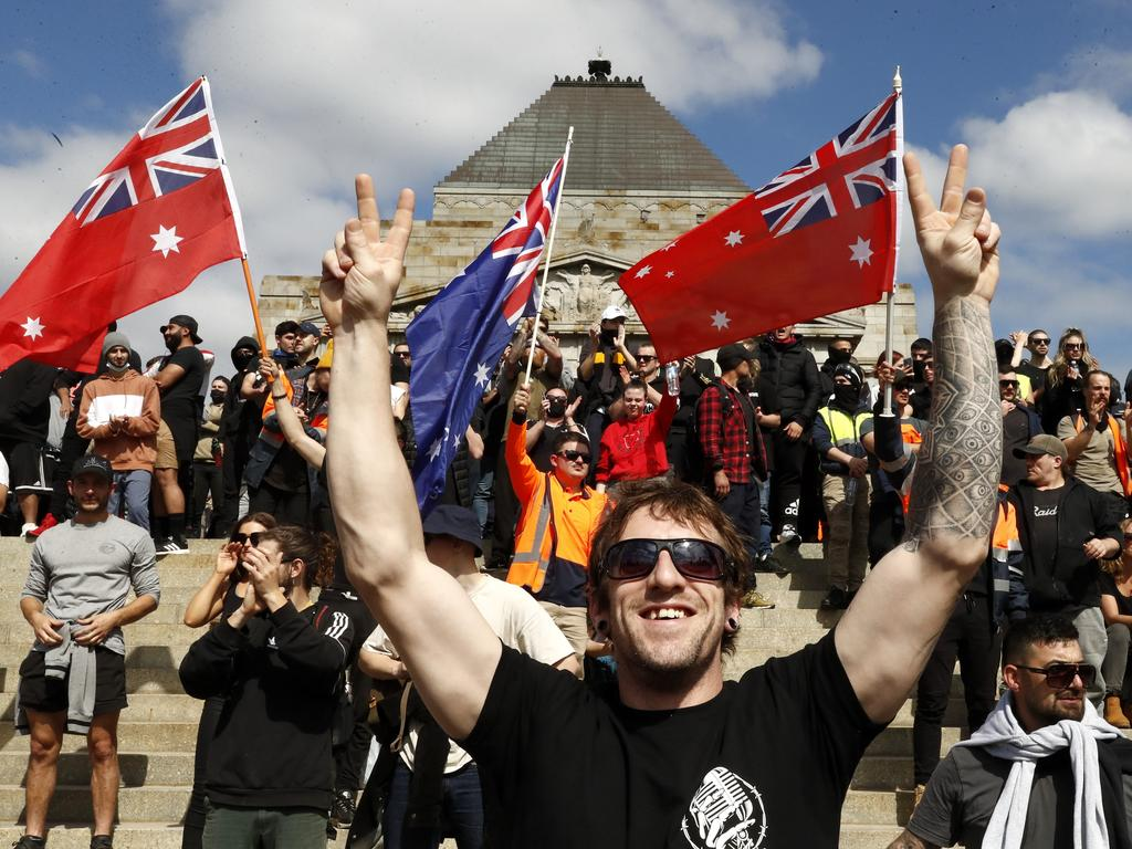Protesters outside Melbourne's iconic war memorial site. Picture: Darrian Traynor/Getty Images