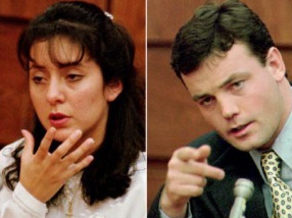 Lorena and John Wayne Bobbitt in court. Picture: Supplied