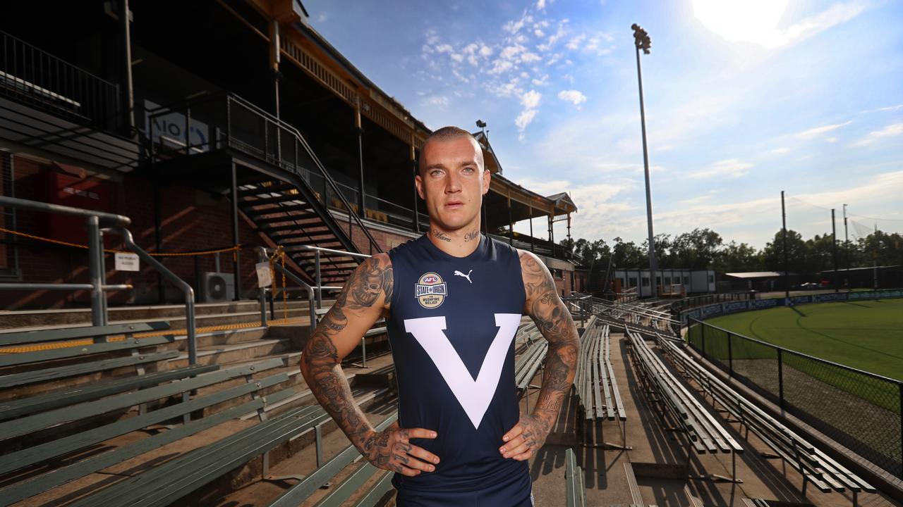 Dustin Martin in the Victorian guernsey for State of Origin for Bushfire Relief game. Picture: Alex Coppel.