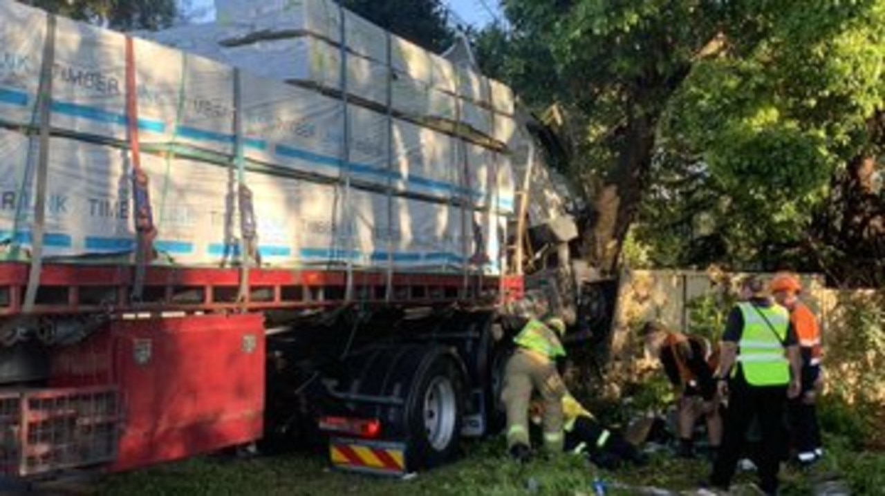 The driver was trapped as a result, but has since been freed. Drivers are warned to expect delays after the crash. Picture: 10 News / Twitter