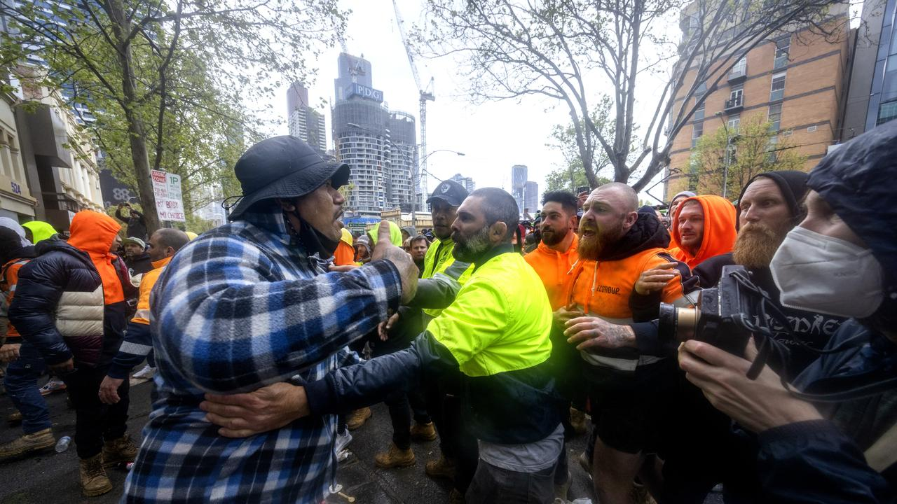 CFMEU members brawl with each other outside the union's headquarters in Melbourne. Picture: NCA NewsWire / David Geraghty