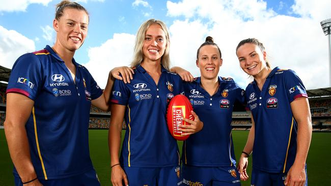 Britt Gibson, Kaitlyn Ashmore, Emma Zielke and Emily Bates are ready for the AFLW grand final. Picture: Adam Head