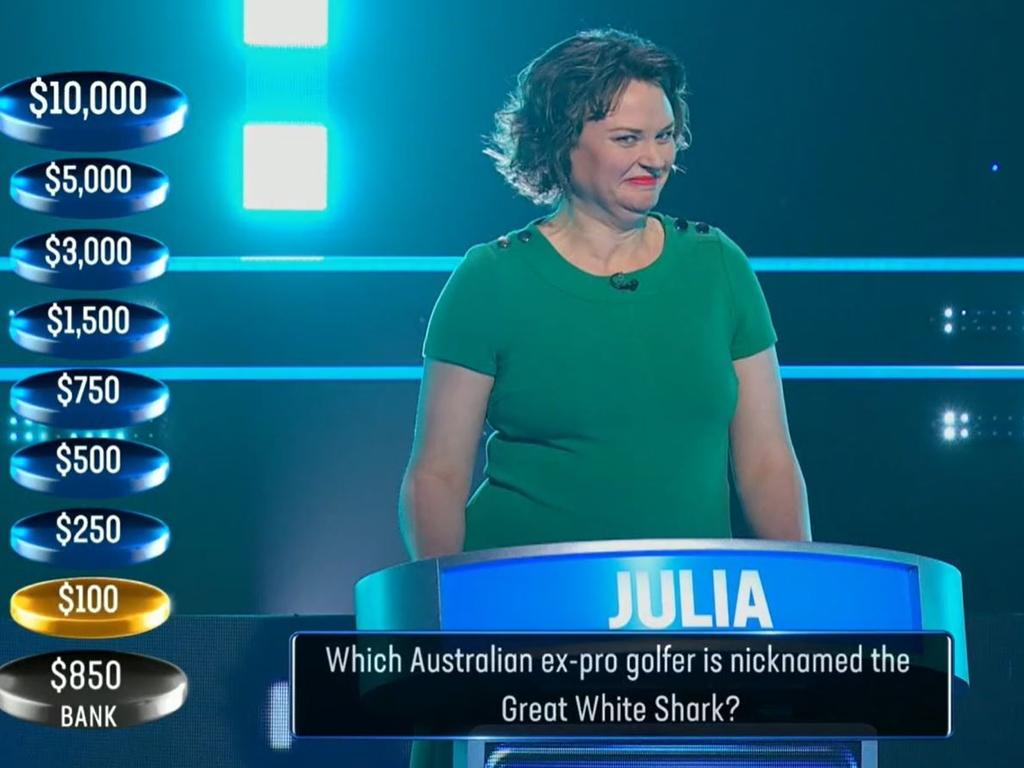 Julia also thought Tiger Woods was named the Great White Shark.
