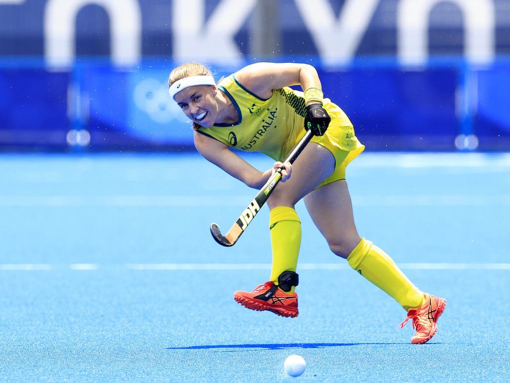 Australian Emily Chalker in action during Australia V Argentina Women's Hockey game. Picture: Adam Head