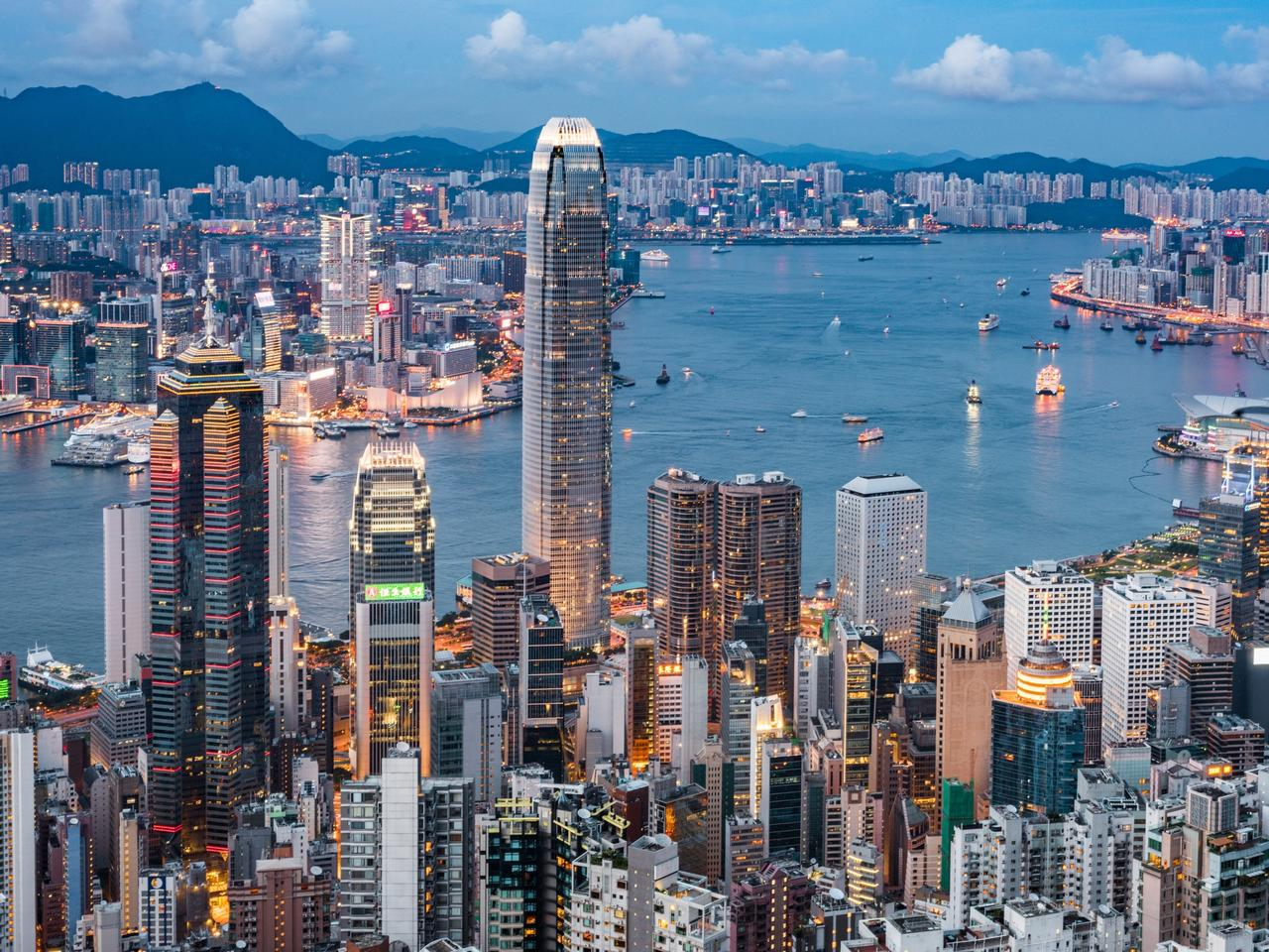View of the Hong Kong skyline.