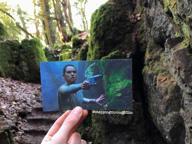 """PUZZLEWOOD, ENGLAND - STAR WARS: THE FORCE AWAKENS  """"Deep in the forests of Puzzlewood lies a filming location from a galaxy far far away… There are lots of key shooting spots at Puzzlewood with this spot being where Kylo Ren and Rey have their first showdown on planet Takodana."""""""