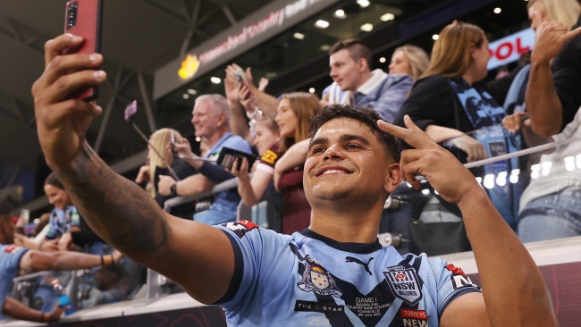 Latrell Mitchell of the Blues poses with fans after winning game one. Picture: Mark Kolbe/Getty Images
