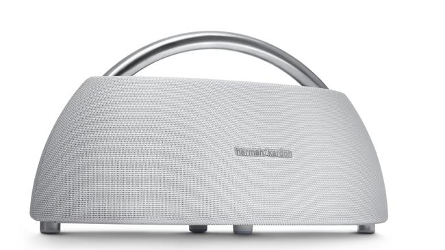 With a stainless steel handle, the Harman Kardon GO + Play is a portable home speaker.