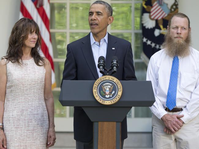 US President Barack Obama, accompanied by Bowe Bergdahl's parents Jani Bergdahl, left, and Bob Bergdahl. Picture: AP