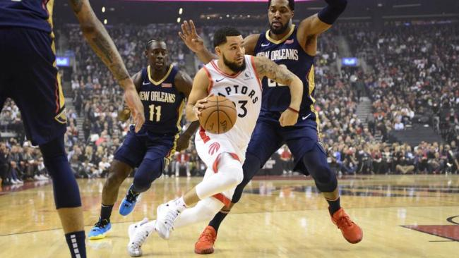 Fred vanVleet goes to work for the Raptors.