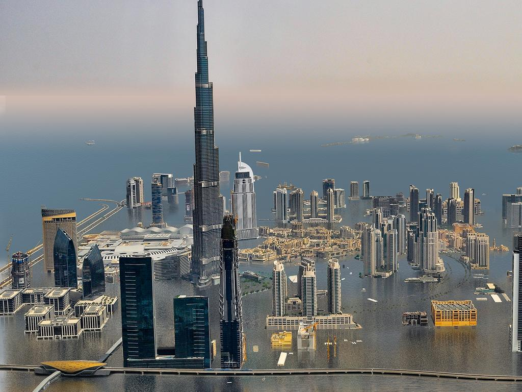 Burj Khalifa, Dubai, UAE, under the most extreme simulations of sea level rise, according to Climate Central. Picture: Supplied