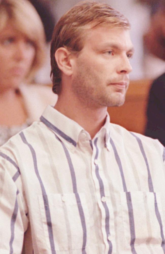Serial killer Jeffrey Dahmer shown during his preliminary trial in 1991.