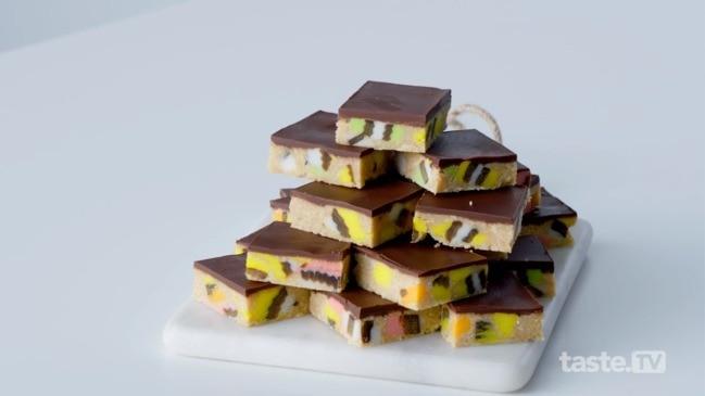 Licorice allsort slice