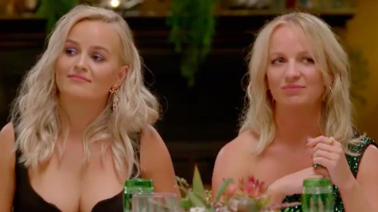 Elly and Becky weren't impressed by James' reaction at the dinner party. Picture: Channel 10