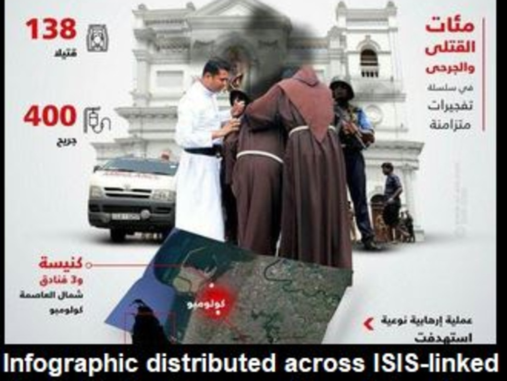 Islamic State supporters are spreading this infographic glorifying the Sri Lanka attacks on social media, according to the SITE intel group. Picture: SITE/Twitter