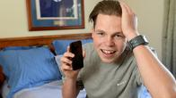 Bailee Revell 16, and his mobile phone. Story is about weird excuses people use for their mobiles not working. Bailee had his phone fall on his head whilst he was asleep and then stopped working. Picture: Kylie Else