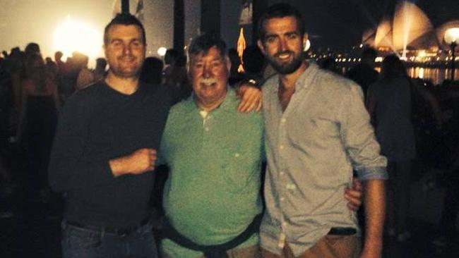 Barry Lyttle (left) with his father Oliver Lyttle and brother Patrick. This picture was taken in Sydney days before the altercation.