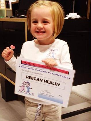 Reegan Healey when she first cut her hair for charity at age 3.
