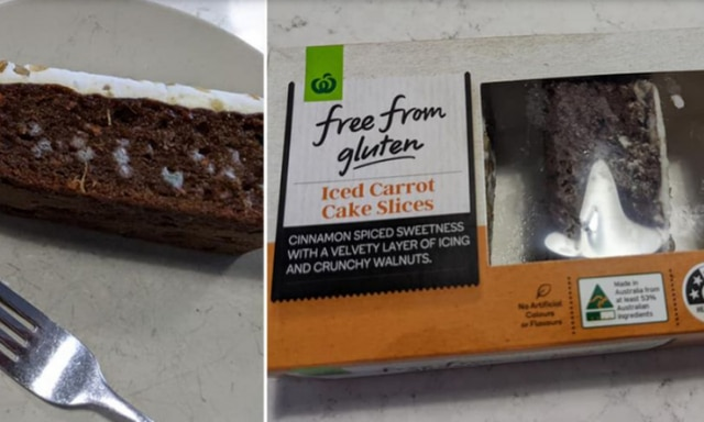 Woolworths carrot cake filled with mould