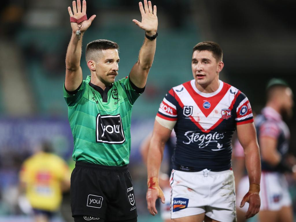 The Roosters have been on the wrong end of the penalty count an awful lot over the past eight seasons. Picture: Matt King / Getty Images