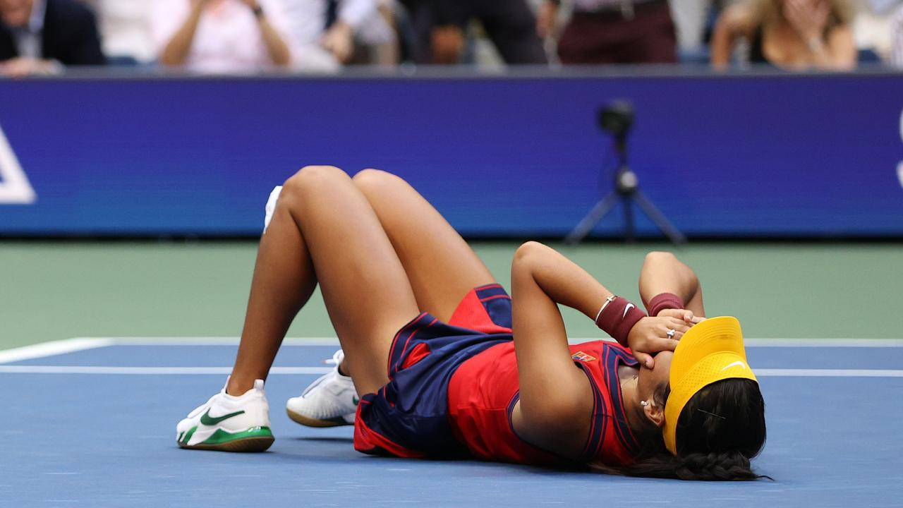 Emma Raducanu collapsed after match point. (Photo by Elsa/Getty Images.