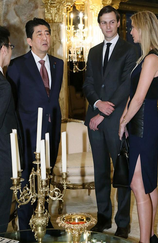 The pictures show how close Ivanka and her husband are to the President-elect's political business, raising questions about their business interests. Picture: AFP PHOTO / Cabinet Secretariat.