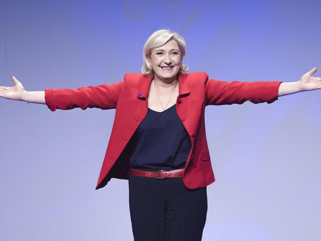 Saviour pose: Marine Le Pen is making her second bid for the French presidency, hoping this time to break through the ceiling of fear that stopped her father from winning in 2002. Picture: AP Photo/Kamil Zihnioglu