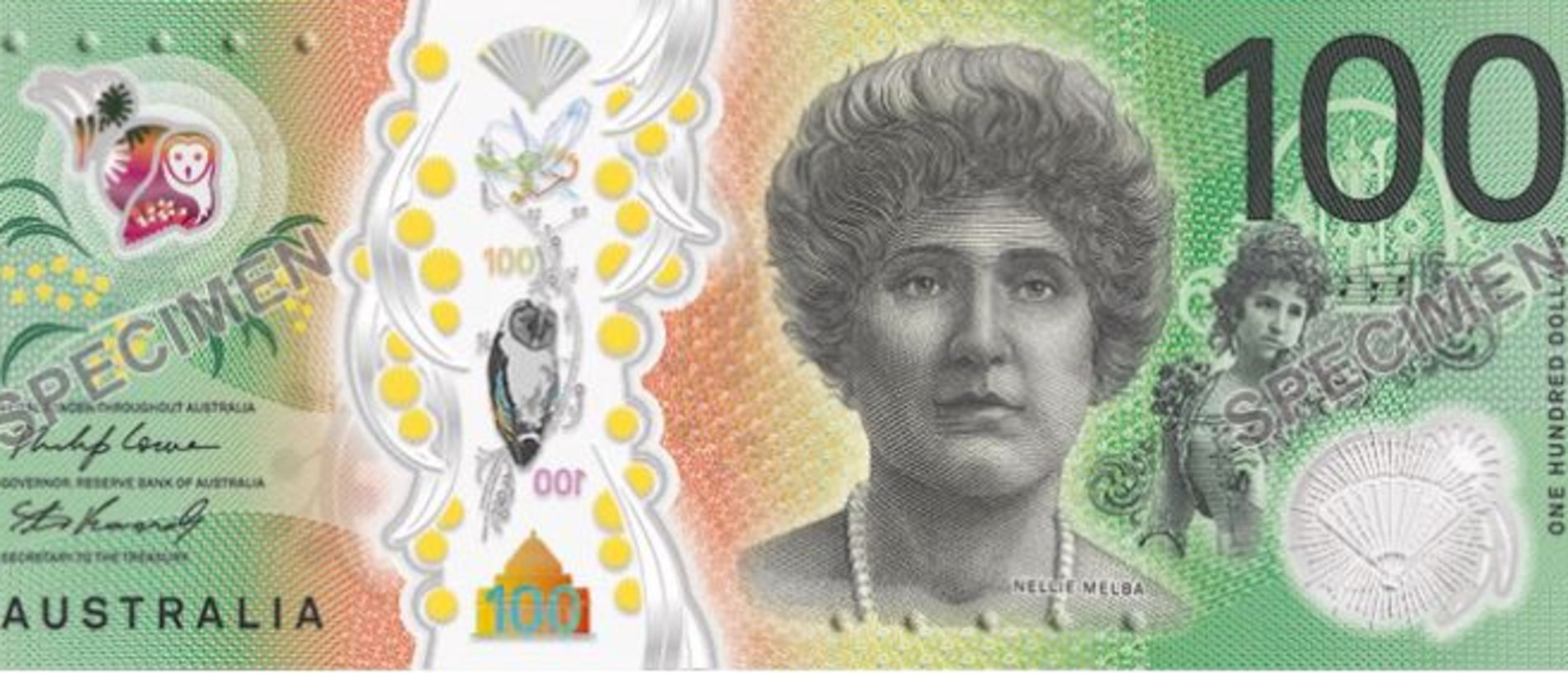 The new $100 banknote featuring Dame Nellie Melba on one side. Picture: Reserve Bank