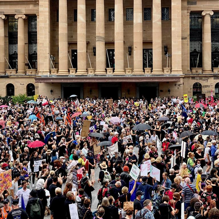 Large crowds gather for the Women's March 4 Justice at King George Square in Brisbane. Picture: NCA NewsWire / Sarah Marshall