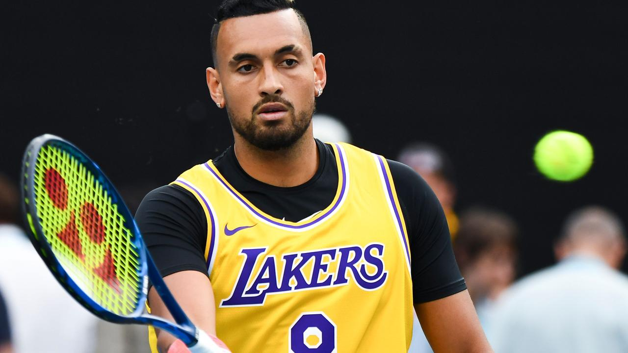 Nick Kyrgios wore a Kobe Bryant jersey at the Australian Open tennis tournament after the NBA star's tragic death. Picture: William West / AFP