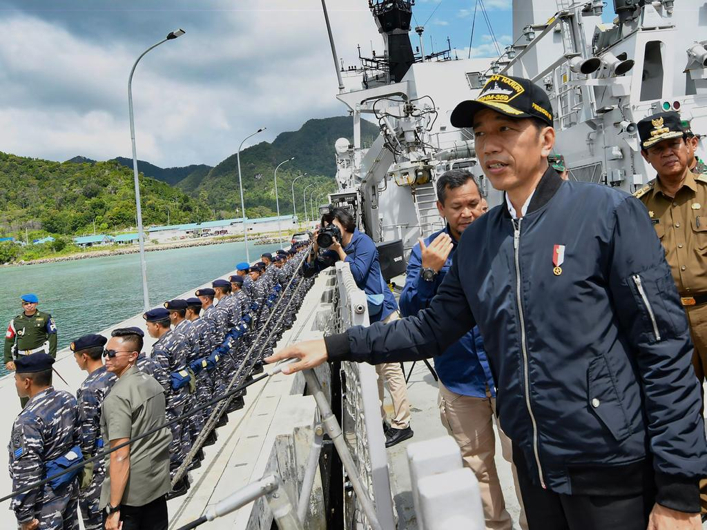 Indonesia's President Joko Widodo during a visit to a military base in the Natuna islands, which border the South China Sea. Picture: Presidential Palace/AFP