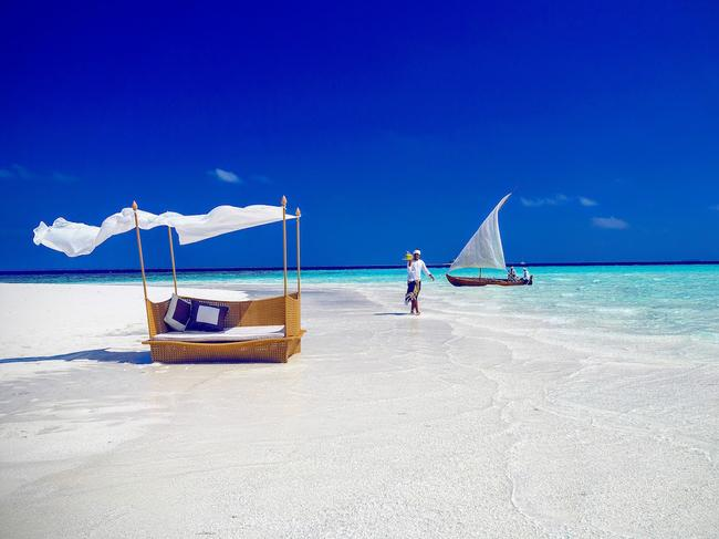 GLAMP ON A SANDBANK Taking glamping to new heights, at Milaidhoo Island couples in search of extra privacy can opt to spend the night as voluntary castaways on their very own private sandbank. Transformed with luxury resort touches (including a canopied four-poster bed draped in muslin), modern day Robinson Crusoes can enjoy sunset cocktails, a four course dinner, before being left alone to enjoy a night under the stars.
