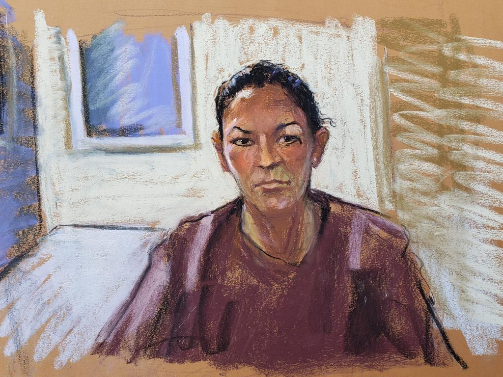 Artists impression of Ghislaine Maxwell appearing via video link during her arraignment hearing on Tuesday. Picture: Jane Rosenberg/Reuters
