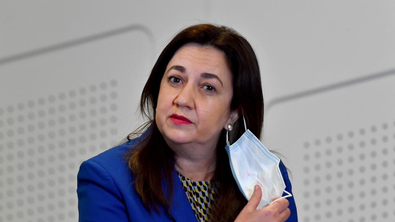 Premier Annastacia Palaszczuk has revealed the strict mask-wearing policy will ease from 6am Friday. Picture: John Gass