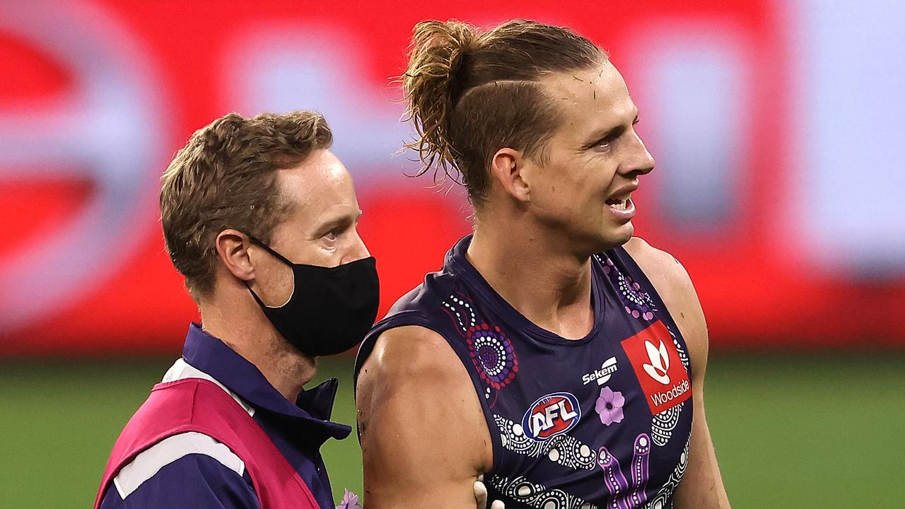 Dockers star Nat Fyfe suffered a shoulder injury against the Bulldogs (Photo by Paul Kane/Getty Images)