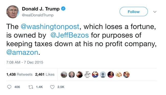 His anger at Jeff Bezos goes back a long way.