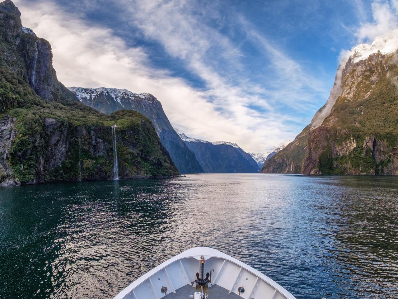Travel tourist destination landscape of Milford sound in New Zealand