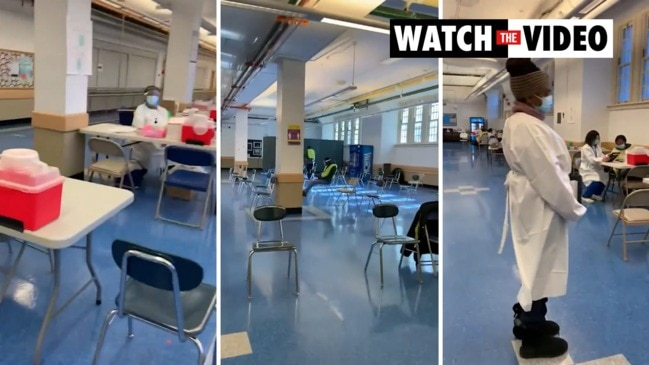 Shocking video shows New York's COVID vaccine hubs are ghost towns