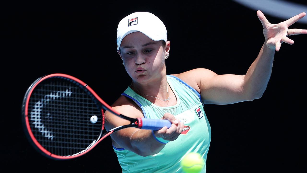 Ashleigh Barty in action against Petra Kvitova on Rod Laver Arena. Picture: Mark Stewart