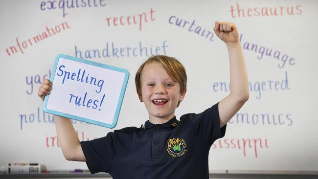Grade 4 student Jacob Matthews, from Derinya Primary School in Frankston South, is one of the state winners of the Prime Minister's Spelling Bee, run by Kids News, after scoring 30/30 in the State/Territory Finals. He will be among nine Victorian students vying for the title of National Champion and the chance to win a trip to Canberra to meet the Prime Minister.                      Picture: David Caird