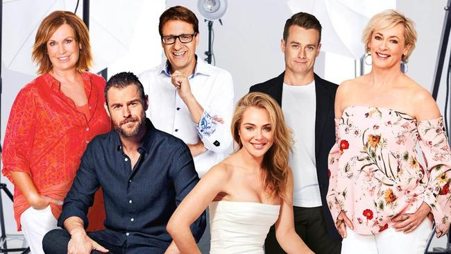 2018 Gold Logie nominees (from left) Tracy Grimshaw, Rodger Corser, Andrew Winter, Jessica Marais, Grant Denyer and Amanda Keller.