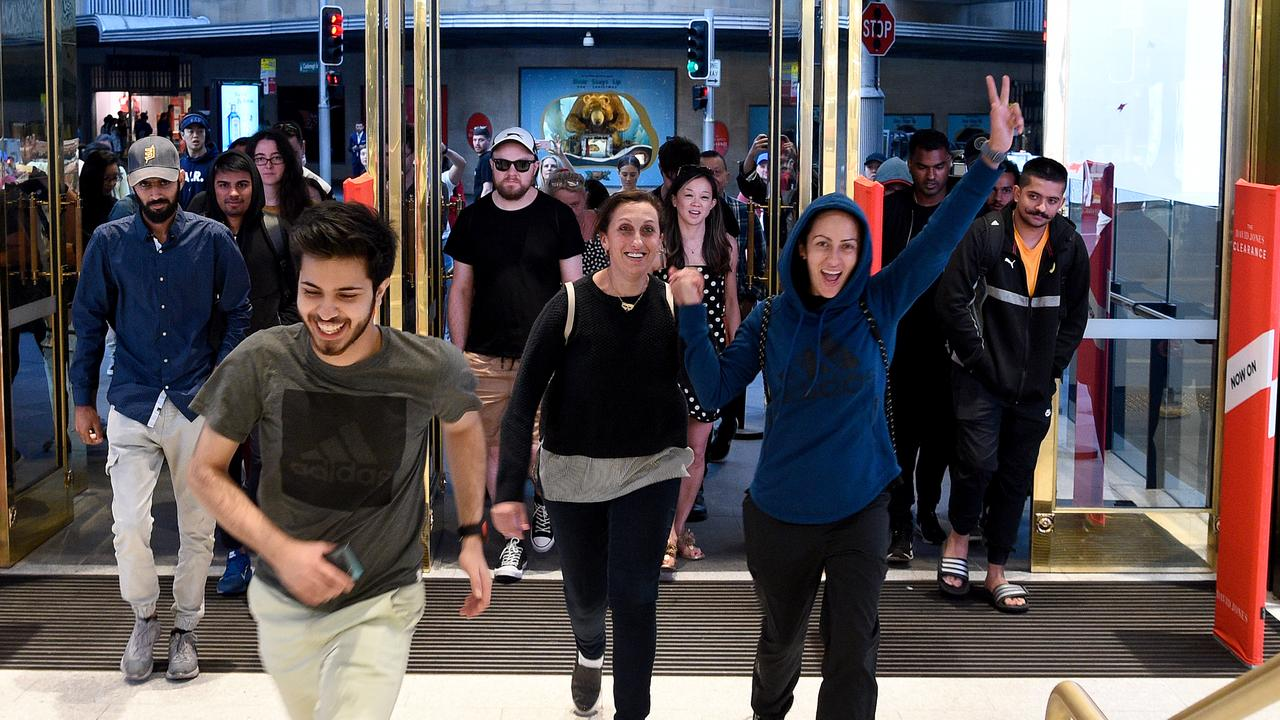 Boxing Day shoppers stream into the Elizabeth Street store. Picture: Bianca De Marchi/AAP