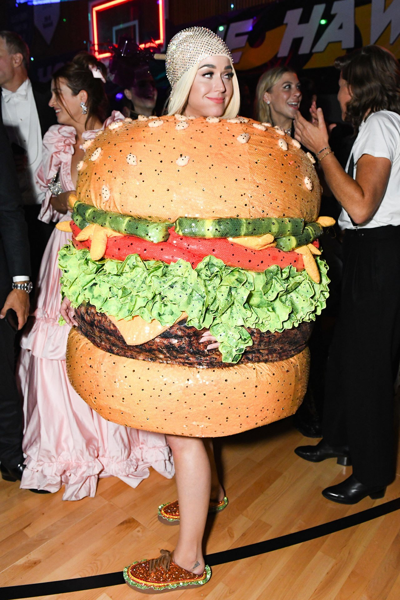 Katy Perry pulls out her Met Gala burger costume for Taylor Swift